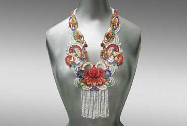 Red Lotus and Butterflies Beaded Neckpiece by Sharmini Wirasekara